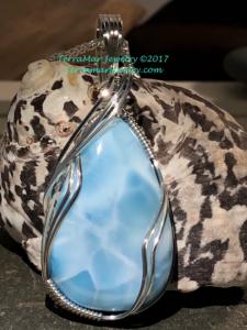 Larimar Pendant in .935 Argentium Silver